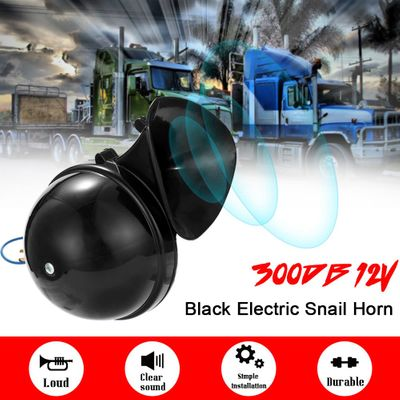 Loud 300DB 12V Black Electric Snail Horn Air Horn Raging Sound For Car Motorcycle Truck Boat Car Styling