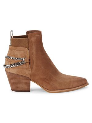 Dolce Vita Shelah Chain-Embellished Suede Booties