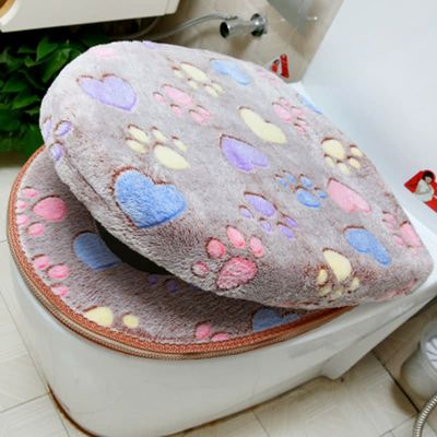 Thick Coral velvet toilet Seat Cover Set WC luxury soft Warm Zipper One / Two-piece toilet Mat Waterproof Bathroom Accessories