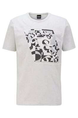 HUGO BOSS - Cotton T Shirt With Abstract Logo Print