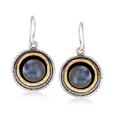 Ross-Simons 9.5-10mm Black Cultured Pearl Drop Earrings in Sterling Silver and 14kt Yellow Gold