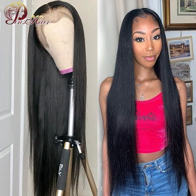 Brazilian Straight Lace Front Human Hair Wigs Pre Plucked 13*4 Lace Front Wigs With Baby Hair Natural Color Pinshair Non-remy