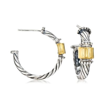 Ross-Simons Sterling Silver With 14kt Yellow Gold C-Hoop Earrings