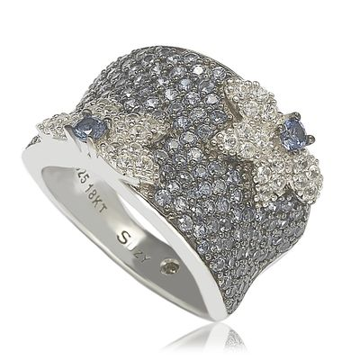 Suzy Levian Sapphire & Diamond Accent Sterling Silver Floral Ring
