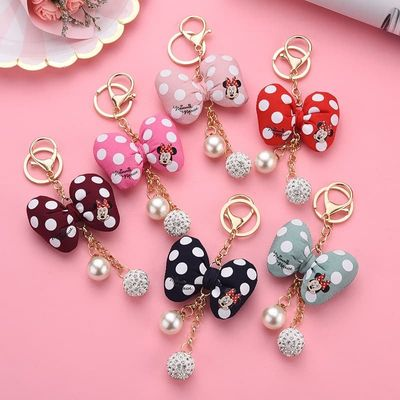 Fashion Mickey Keychain Plush Bow Knot KeyChain Kids Plush Dolls Baby For Girls Women gift