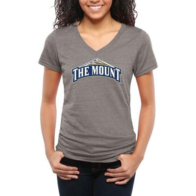 Mount St. Mary's Mountaineers Women's Classic Primary Tri-Blend V-Neck T-Shirt - Gray