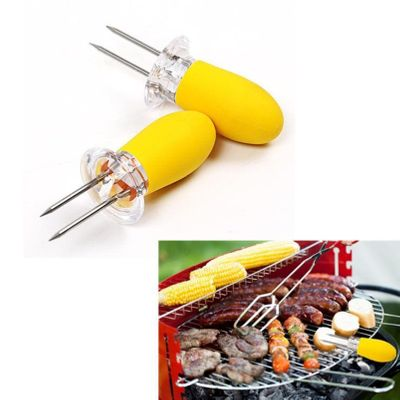2PCS Corn Holder tainless Steel Corn Barbecue Accessories Grill Tools BBQ Food Skewers Comfortable Eating Kitchen Tool 50p