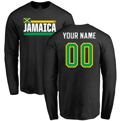 Jamaica Personalized Name & Number Long Sleeve T-Shirt - Black