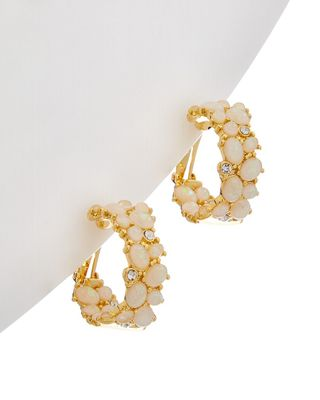 Kenneth Jay Lane 22K Plated White Opal Hoops
