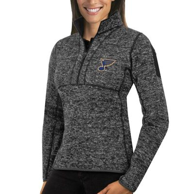 St. Louis Blues Antigua Women's Fortune 1/2-Zip Pullover Sweater - Charcoal