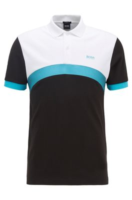 HUGO BOSS - Slim Fit Polo Shirt With Curved Color Blocking