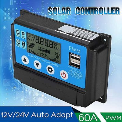 BECORNCE 12/24V 60A Solar Charge Controller Auto Work PWN With LCD Display Dual USB 5V Output Solar Regulator