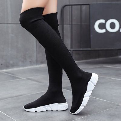 Woman Boots Long Tube Socks Shoes 2019 New Female Fashion Flat Shoes for Women Basket Winter Boots Women Shoes Botas De Mujer