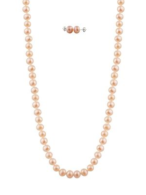 Masako 7-7.5MM Pink Pearl and 14K Yellow Gold Necklace and Earrings Set