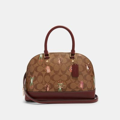 COACH Mini Sierra Satchel In Signature Canvas With Party Animals Print