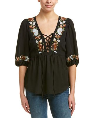 Voom by Joy Han Embroidered Top