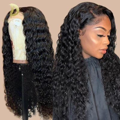 Brazilian 13x4 Lace Front Human Hair Wigs Pre Plucked With Baby Hair Deep Wave Short Water Curly Frontal Wigs For Black Women