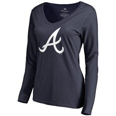 Atlanta Braves Women's Team Color Primary Logo V-Neck Long Sleeve T-Shirt - Navy
