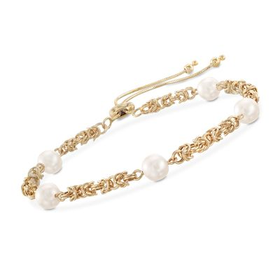 Ross-Simons 7mm Cultured Pearl Byzantine Link Bolo Bracelet in 14kt Yellow Gold