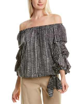 COCO BIANCO Challis Off-the-Shoulder Top