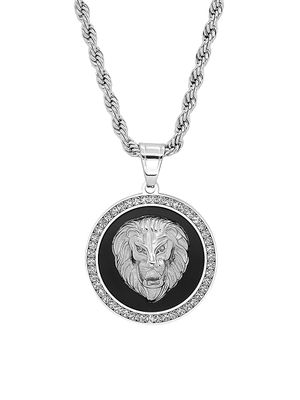Anthony Jacobs Stainless Steel & Cubic Zirconia Lion Head Pendant Necklace