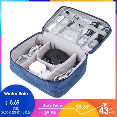 JULY'S SONG Portable Digital Travel Bag Large Capacity Electronic Organizer Travel Accessories Zipper Digital Device Bag
