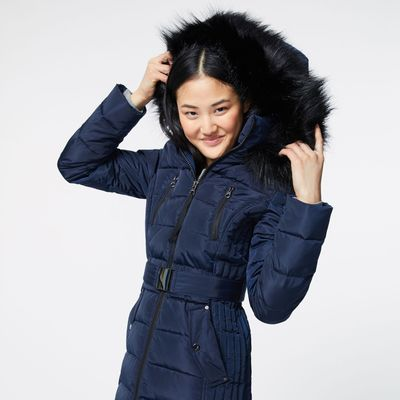 Nautica Faux Fur Trim Hooded Belted Puffer Coat