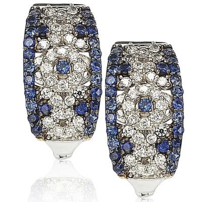 Suzy Levian Sterling Silver and 18K Gold 1 1/2ct TGW Sapphire and Diamond Accent Abstract Earrings