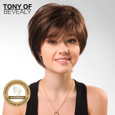 Short Bob Brown Human Hair Mixed Synthetic Wigs for African American Women Heat resistant Human Hair Fiber Blend Wigs
