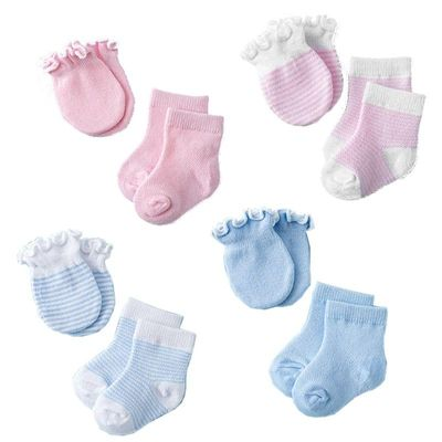 4 Pairs Children Kids Baby Newborn Socks Gloves Anti-scratch Breathable Elasticity Protection Face Mittens Shower Gift Infant