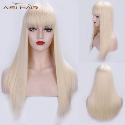 I's a wig Long Straight 613 Blonde Synthetic Wigs With Bangs for Women Cosplay Hair wig Heat Resistant Black Brown Hairpiece