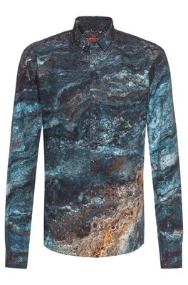 HUGO BOSS - Extra Slim Fit Cotton Shirt With Marble Print