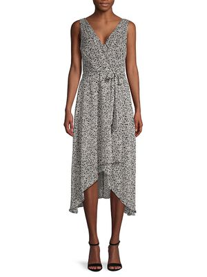 Karl Lagerfeld Paris Floral Chiffon Wrap-Effect Dress
