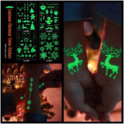 Men Women Sex Fake Tattoos Couple Luminous Christmas Elk Snowflake Cartoon Waterproof Temporary Sticker Water Transfer Body Art