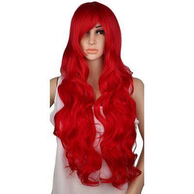 QQXCAIW Long Curly Cosplay Wig Costume Party Red Pink Sliver Gray Blonde Black 70 Cm High Temperature Synthetic Hair Wigs
