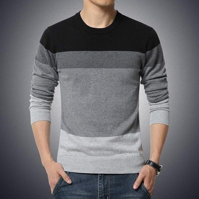 Autumn Casual Men's Sweater O-Neck Striped Slim Fit Knittwear Mens Sweaters Pullovers Pullover Men Pull Homme M-3XL