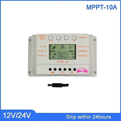 MPPT 10A Solar Charge Controller With TemperaSensor LCD Regulator Light And Timer Control For Lighting/Solar PV Controller(WHITE 10A 12V(24V) AUTO)