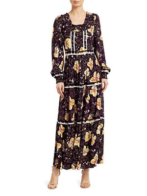 byTiMo Bell-Sleeve Floral Maxi Dress