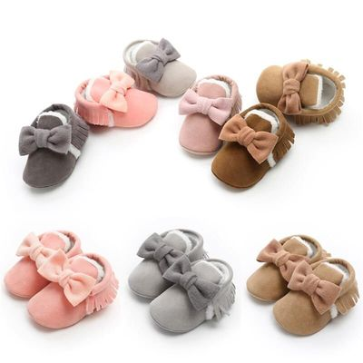 Toddler Girls Cute solid baby shoes 2018 New Fashion Bowknot Soft Warm Winter Crib Shoes Anti slip Cotton Prewalker Infant 0-18M