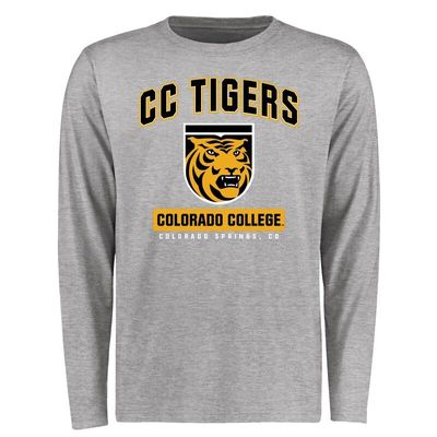 Colorado College Tigers Big & Tall Campus Icon Long Sleeve T-Shirt - Ash