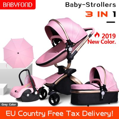 Free ship! babyfond 3 in 1 baby stroller PU two-way shock absorbers baby car cart trolley Europe  with  free gift umbrella