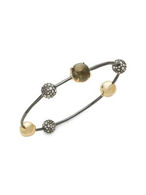 Alexis Bittar 10K Goldplated, Gunmetal-Plated, Faux Pearl & Crystal Orbiting Sphere Bangle Bracelet