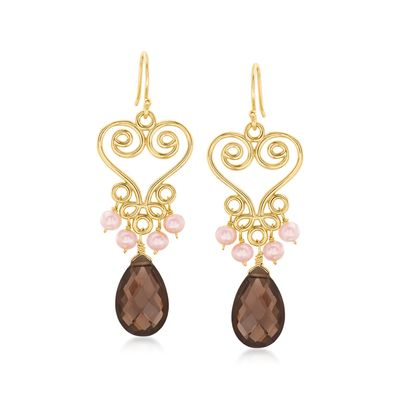 Ross-Simons 3-4mm Pink Cultured Pearl and 10.00 Smoky Quartz Drop Earrings in 18kt Gold Over Sterling