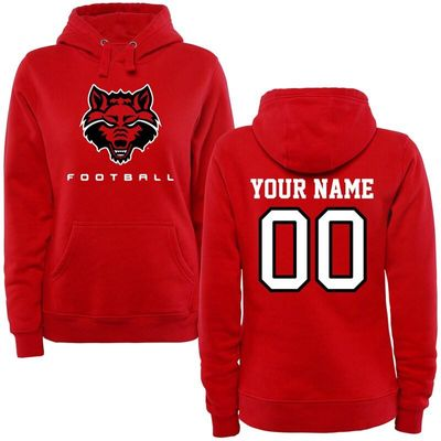 Arkansas State Red Wolves Women's Personalized Football Pullover Hoodie - Red