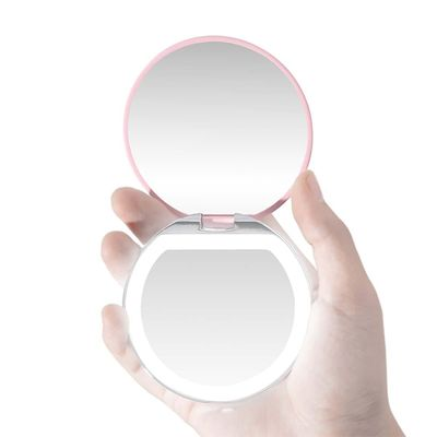 LED Light Mini Makeup Mirror Compact Pocket Face Lip Cosmetic Mirror Travel Portable Lighting Mirror 3X Magnifying Foldable