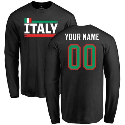 Italy Personalized Name & Number Long Sleeve T-Shirt - Black