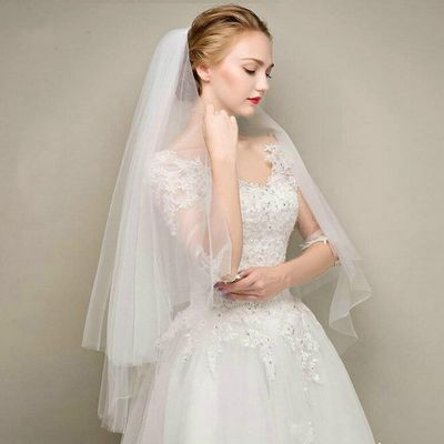 Simple Two Layers Short Tulle White Wedding Veils Cheap 2019 Ivory Bridal Veil for Bride for Mariage Wedding Accessories Comb