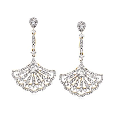 Ross-Simons Diamond Fan Drop Earrings in 14kt Yellow Gold