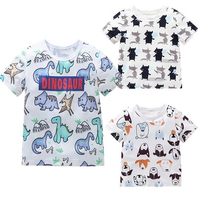 Cute Fashion Toddler Kids Baby Boy T Shirt O Neck Cartoon Short Sleeve Animal Printed Top Clothes Outfits 2019 Summer Clothes