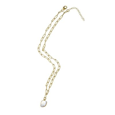 Adornia Link Chain Necklace Moonstone Yellow Gold Vermeil .925 Sterling Silver